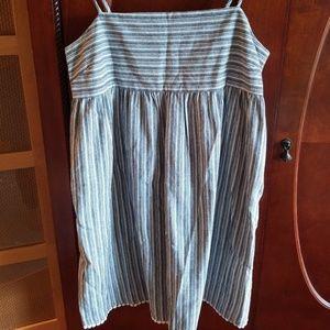 Copper Key Striped Mini Dress Cotton/Linen Blend